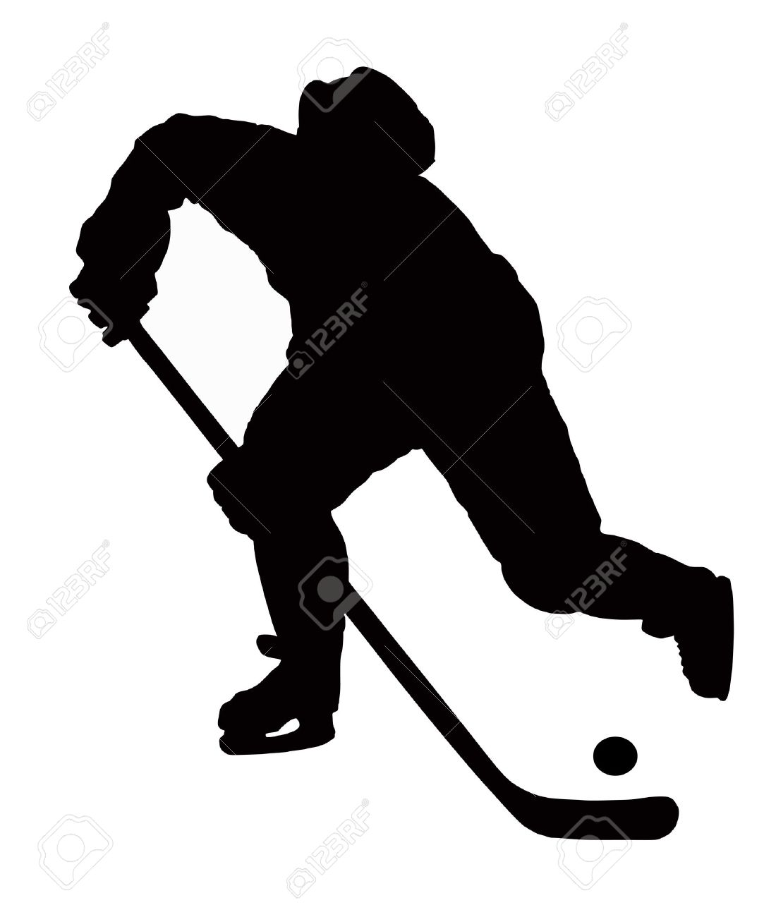the hockey player plays on white background with puck. Stock Vector - 10472933