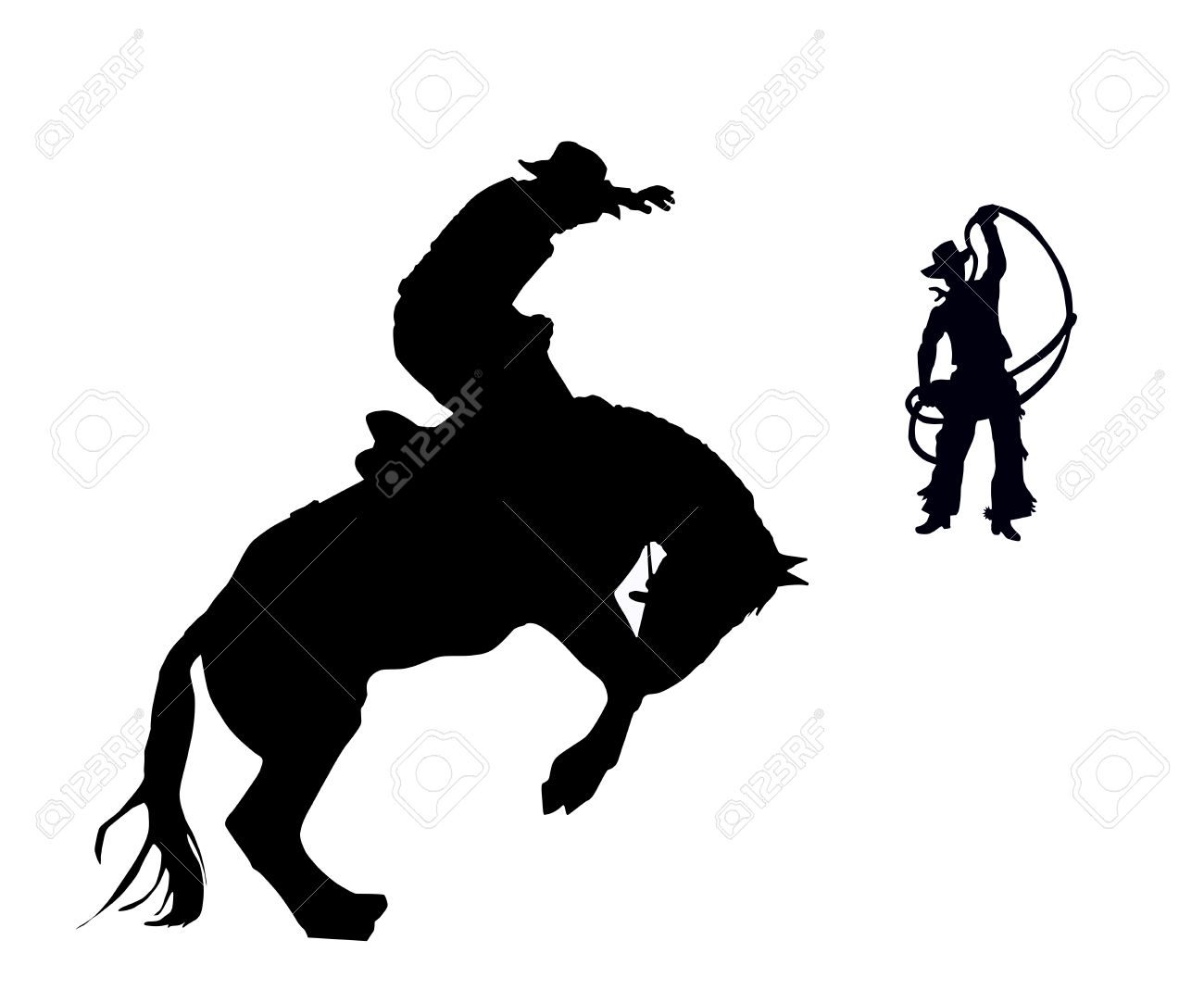 Western Horse Riding Clipart Vector - the rider and