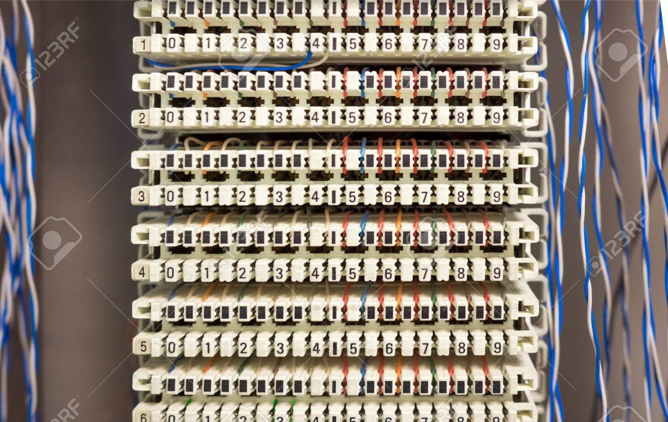 telephone switchboard panel and wires stock photo, picture and Telephone Wiring Board stock photo telephone switchboard panel and wires