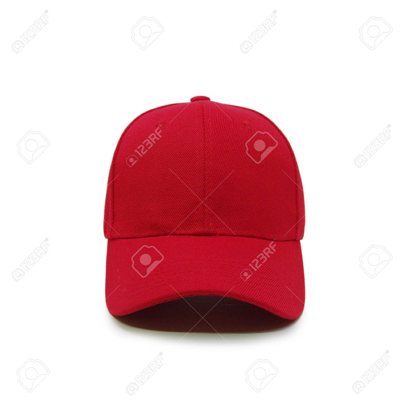 555d7e2d7cd Mock up blank baseball cap red front view on white background Stock Photo -  75314828