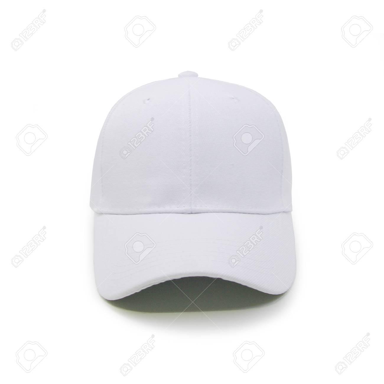 Burlarse de la vista frontal blanca de la gorra de béisbol en blanco sobre  fondo blanco 08d37e1d346