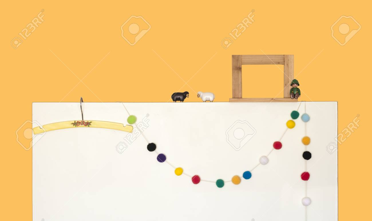 White Board Leaned Yellow Wall Interior Decoration Stock Photo ...