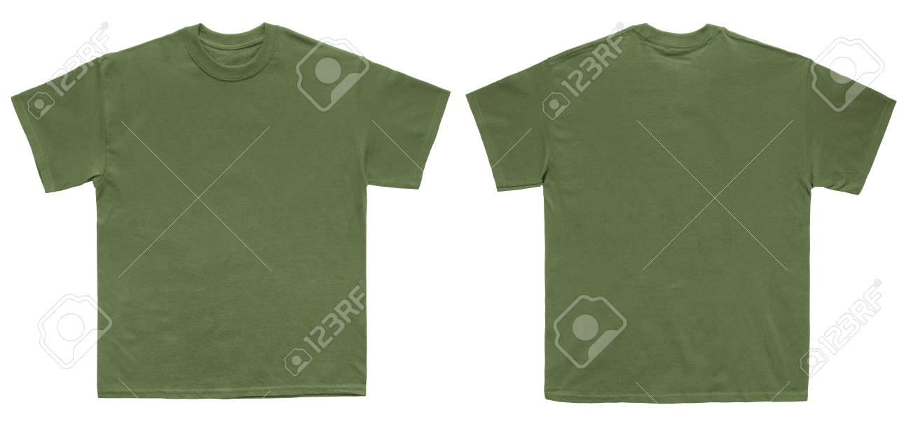 Blank T Shirt color military green template front and back view on white  background Stock Photo e4770035d91