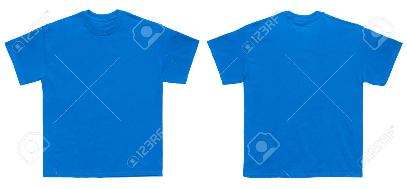Blank T Shirt Color Royal Blue Template Front And Back View On White Background Stock Photo