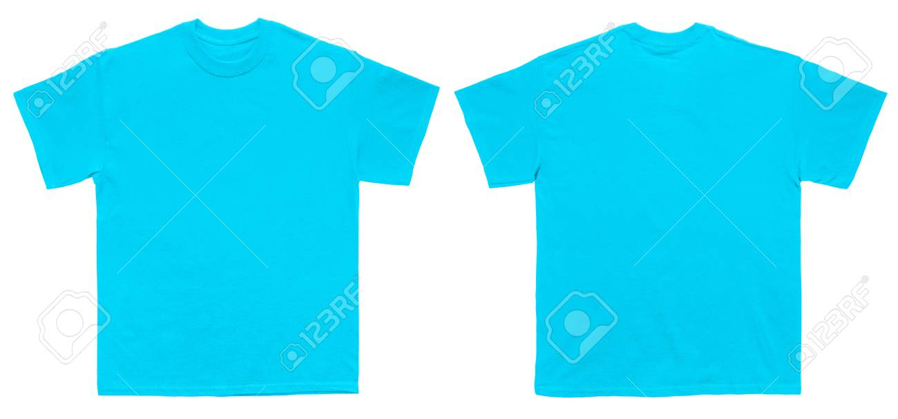 Blank T Shirt Color Sky Blue Template Front And Back View On Stock
