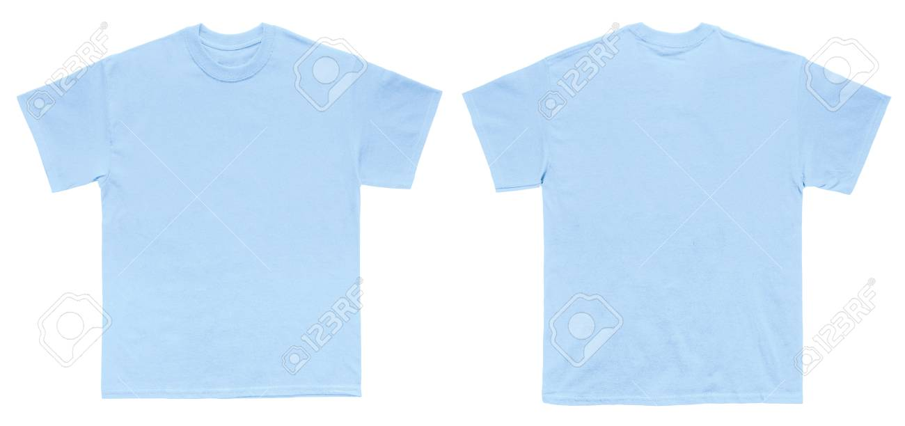 Blank T Shirt Color Light Blue Template Front And Back View On