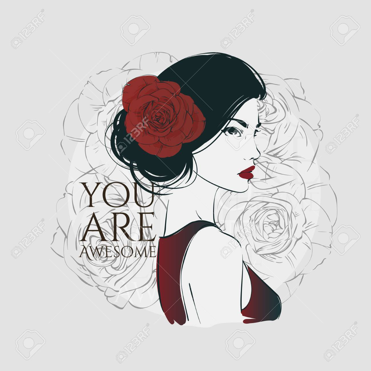 Portrait Of Young Beautiful Woman With Red Rose In Hair Vector