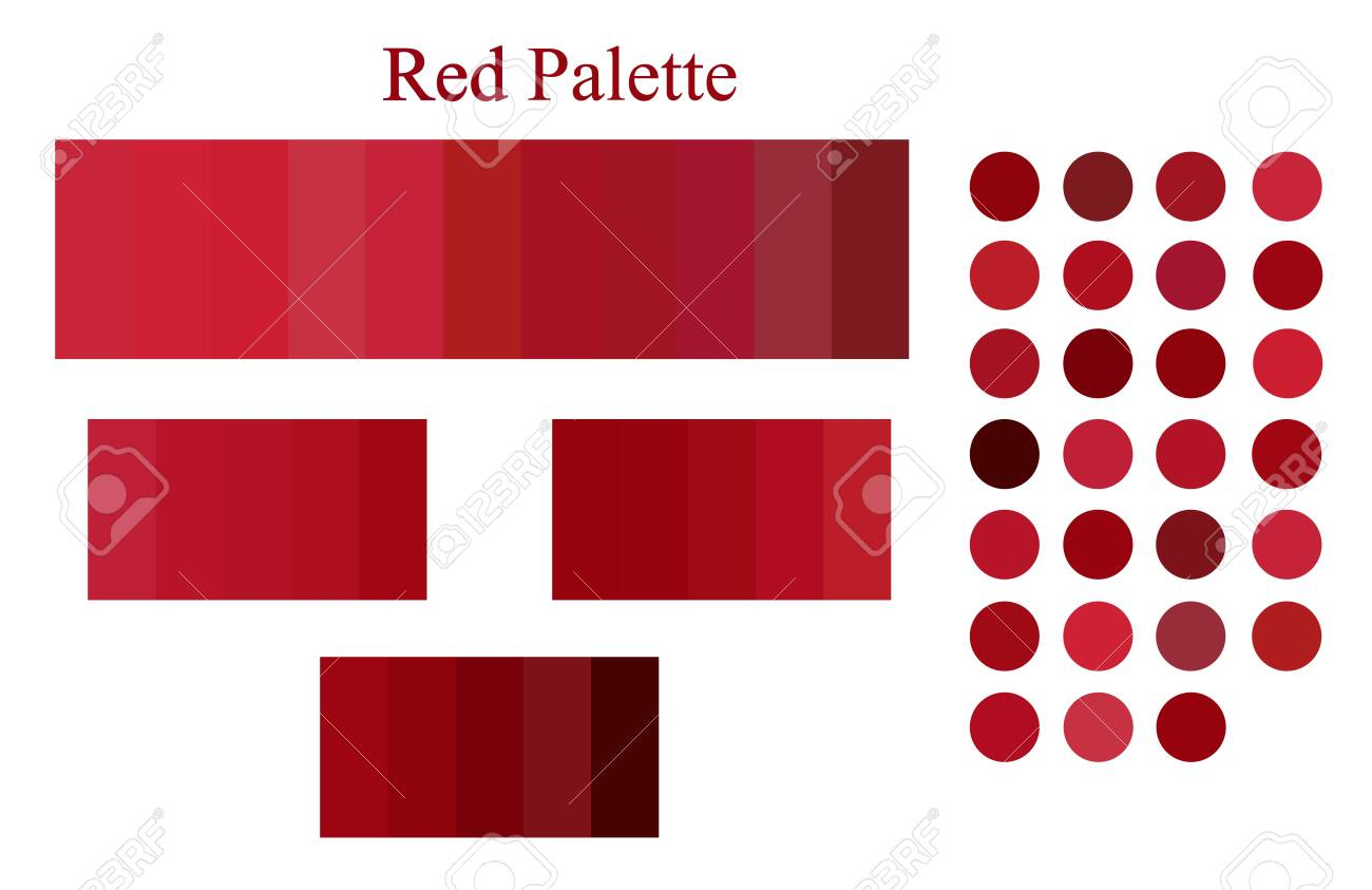 Red Color Palette Spectrum Scheme Set Abstract Scarlet Swatches Royalty Free Cliparts Vectors And Stock Illustration Image 143720520