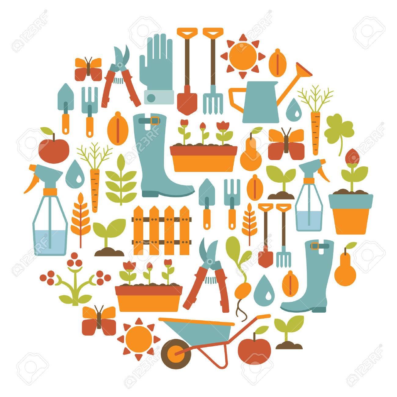 Garden Design Elements round card with gardening design elements royalty free cliparts