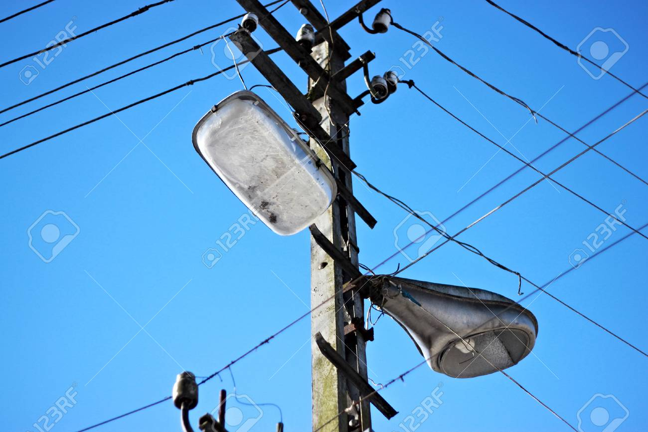 The Old Street Lamps With A Web Of Electric Wires. Stock Photo ...