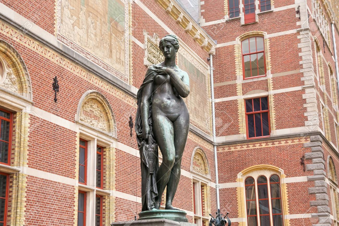 Ams Nude bronze statue of a naked woman near the rijksmuseum dutch national..