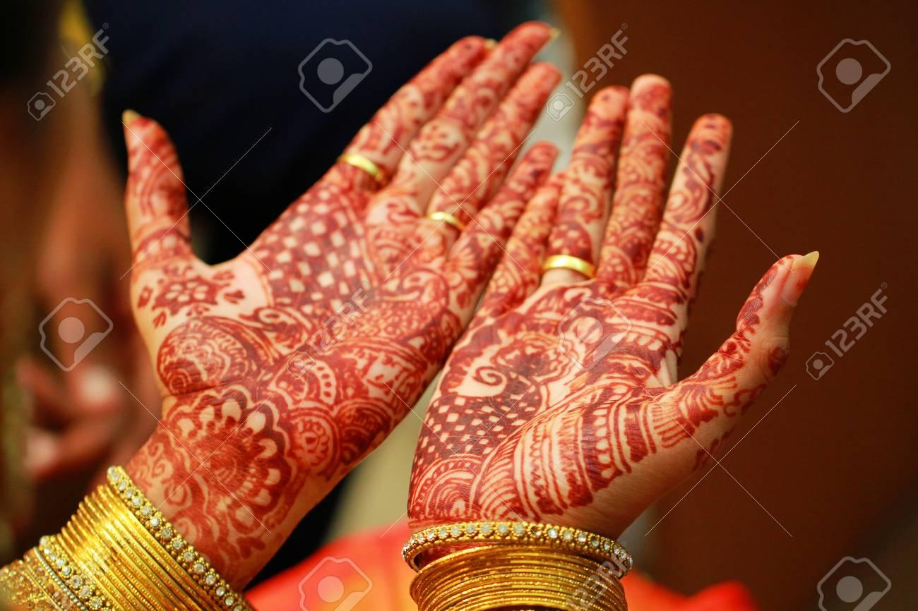 Mehandi, Application Of Henna As Skin Decoration In Indian Wedding