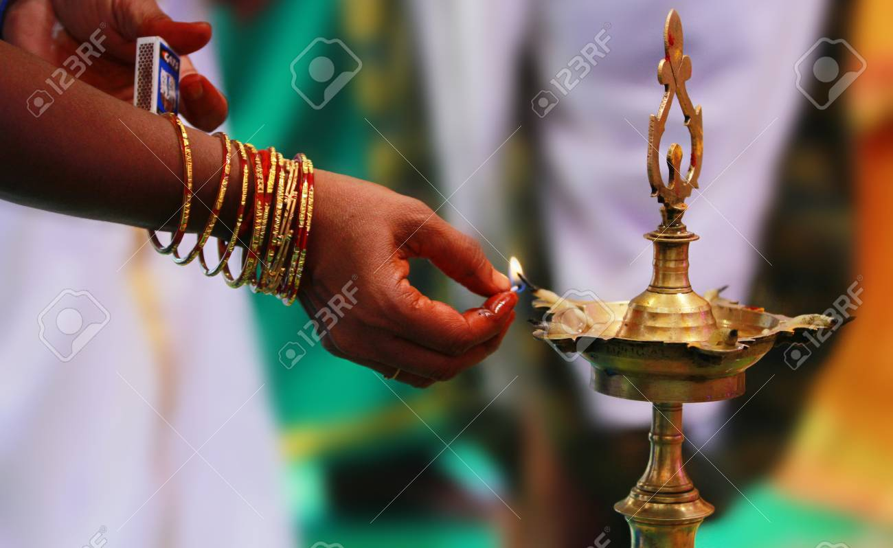 Traditional south indian brass oil lamp