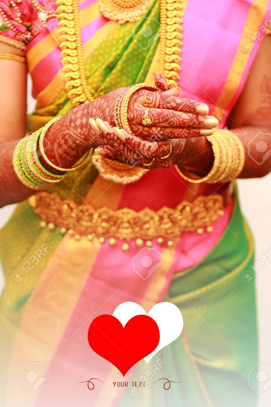 Indian Bride Putting On Bangles Traditional Young Bride In