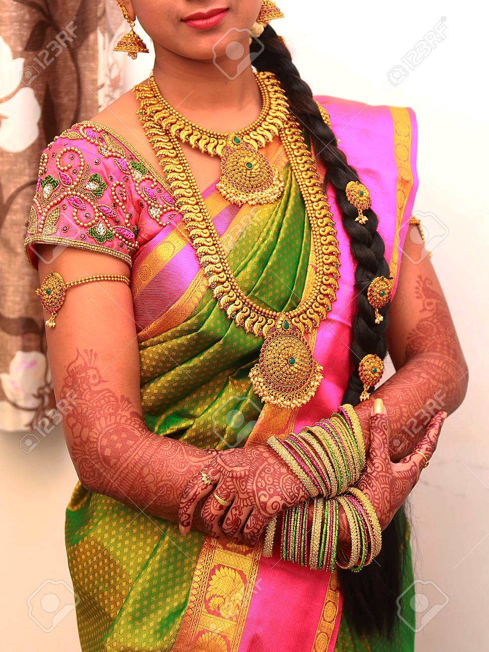 Traditional Young Bride In Wedding Dress, South Indian Wedding ...