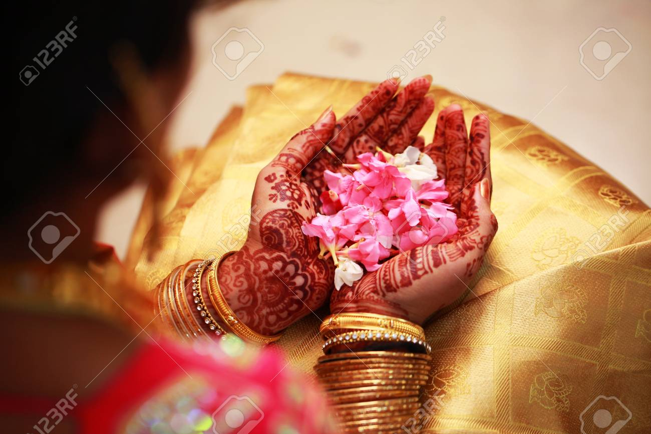 Young Bride Holding Flower South Indian Wedding Ceremony Stock