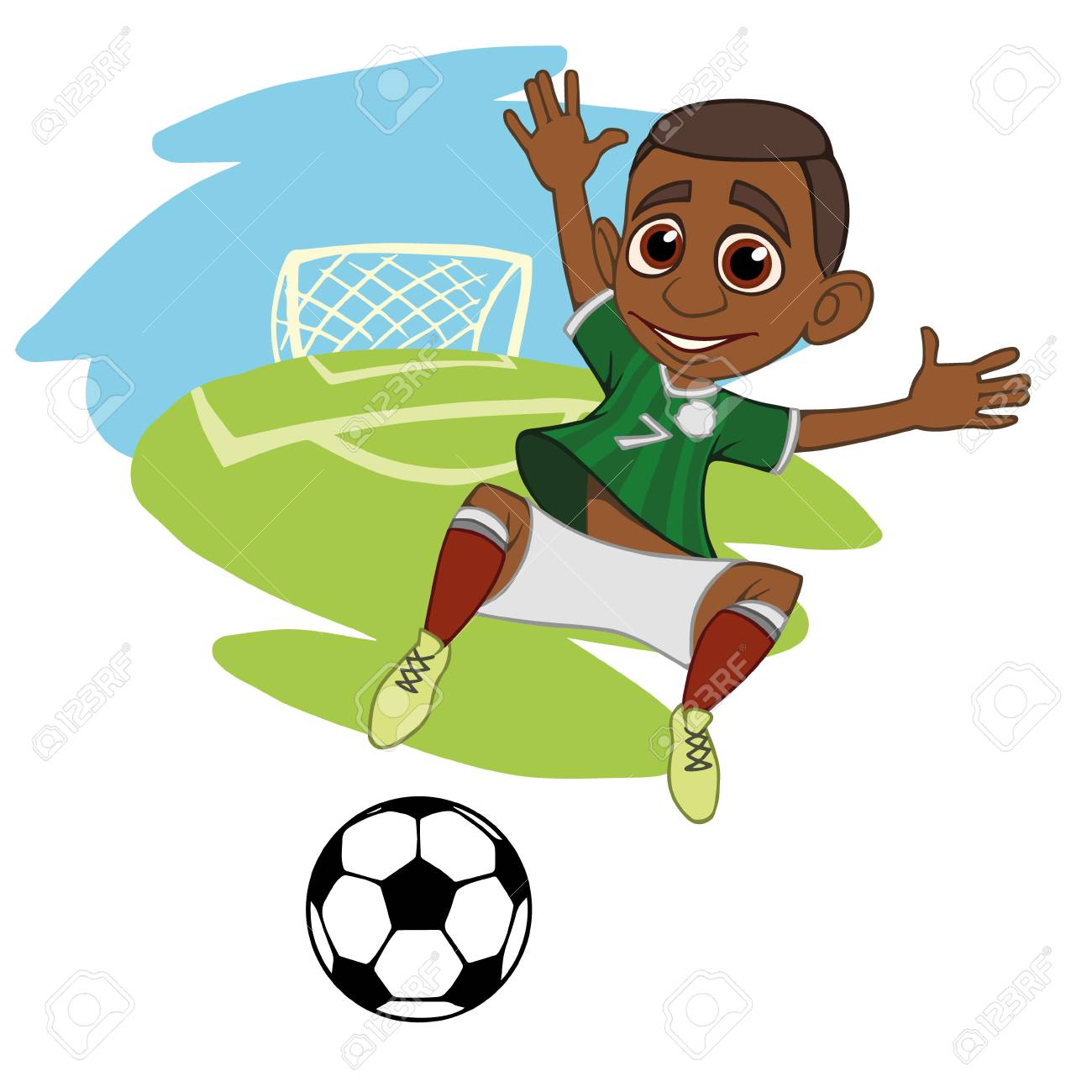 f5eba2ea1c3 A cartoon soccer player is playing ball in a stadium in uniform Mexico.  Vector illustration