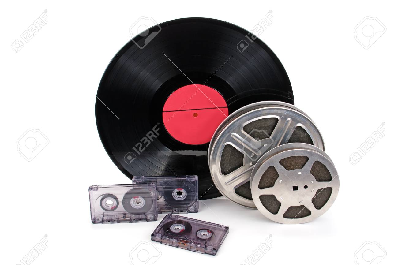 Old film reel with strip black and white cine-film, photographic