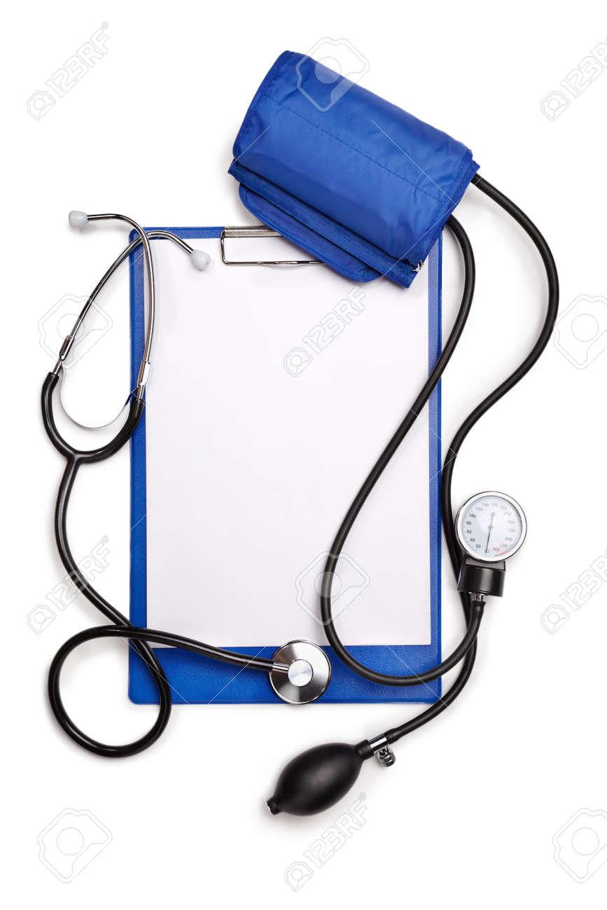 Blood pressure sphygmomanometer and phonendoscope isolated on white background Stock Photo - 12325755