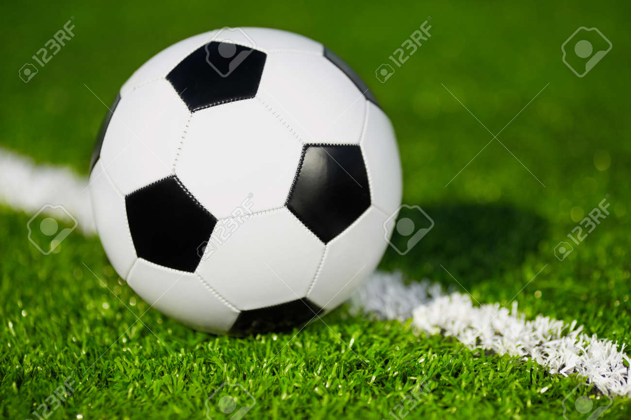 new and clean soccer ball on field, selective focus Stock Photo - 15078045
