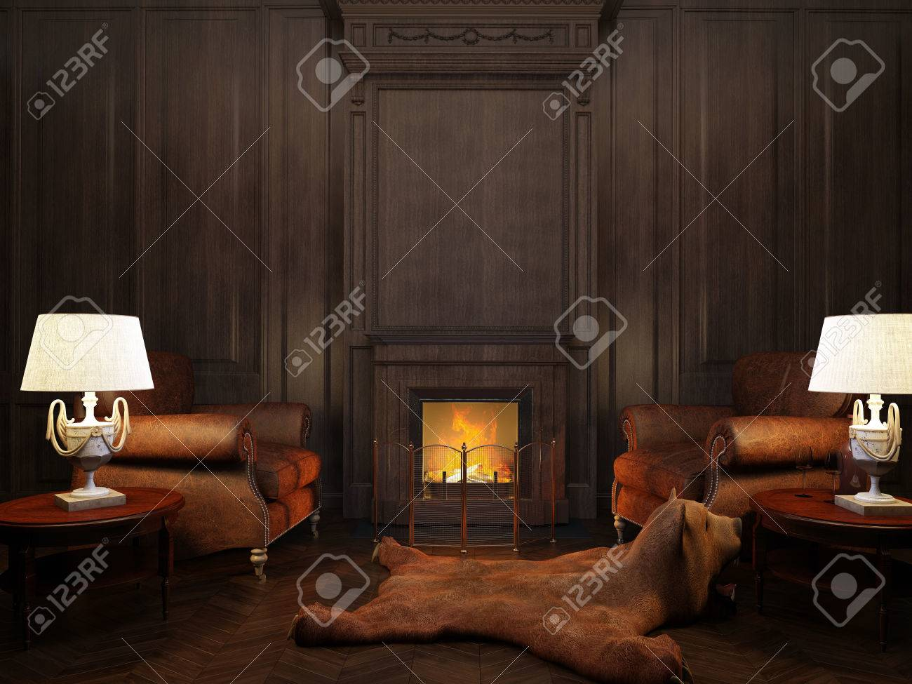 Superieur Stock Photo   Two Armchairs And Two Lamps At The Fireplace