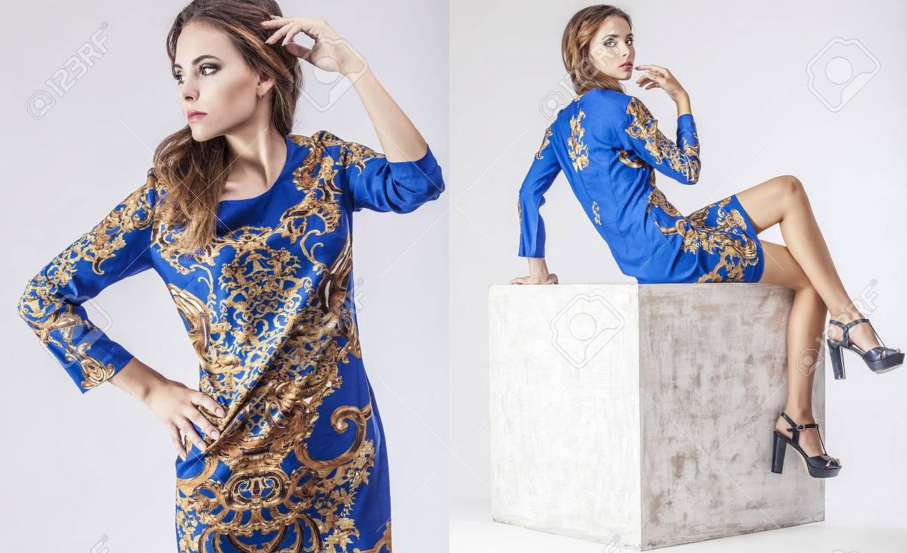Fashion model beautiful woman Studio photography. Fashion, beauty, sexy, makeup, clothing. - 43647767