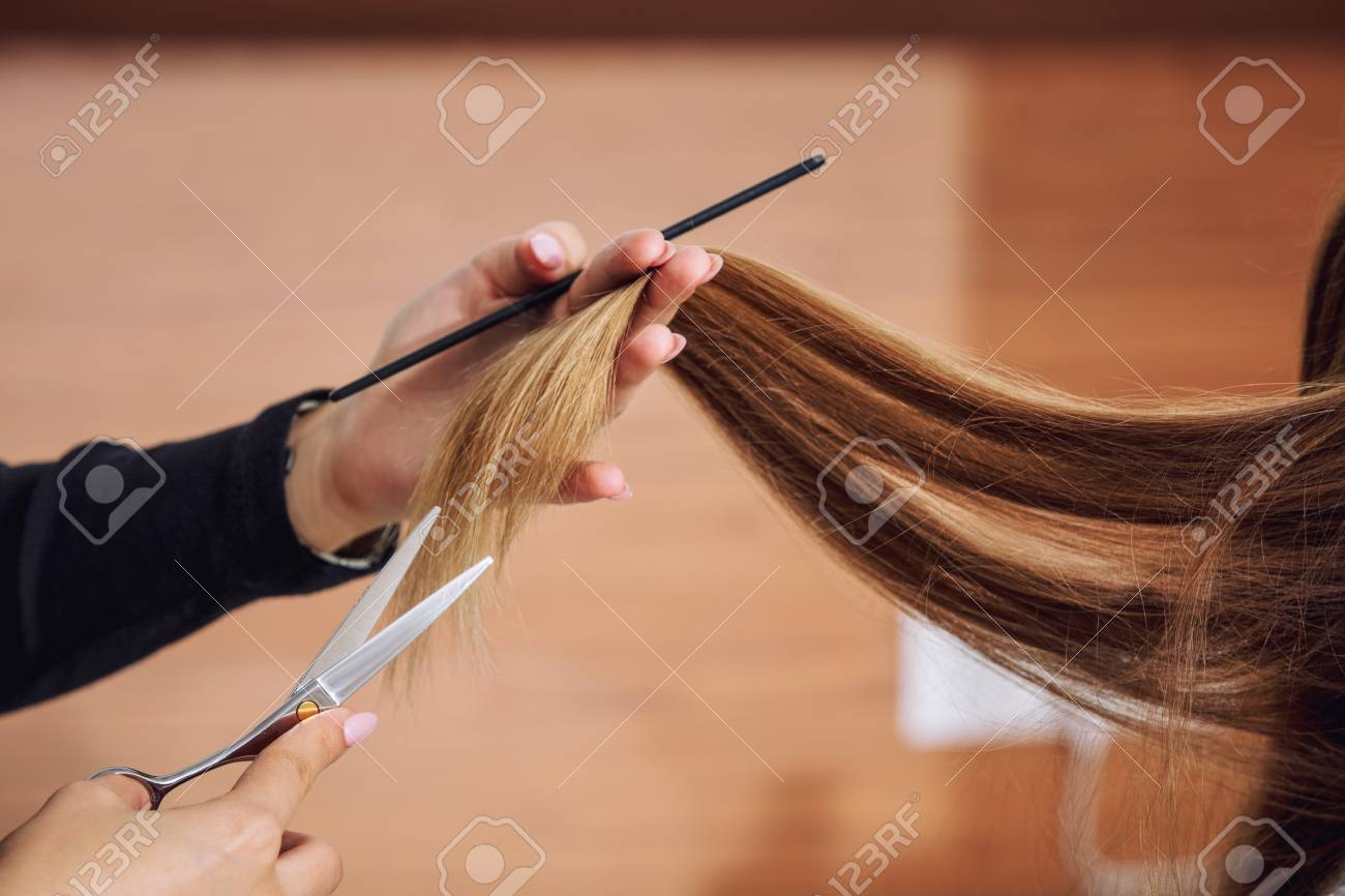 Young beautiful woman client makes a haircut from a professional hairdresser in a beauty salon close-up - 108661872