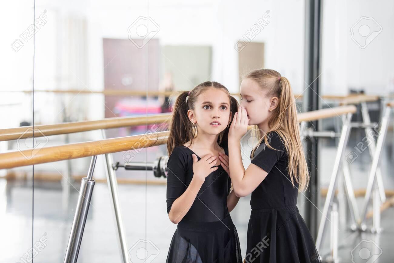 Small beautiful cute girls children in the Studio train at a dance lesson. - 147258555