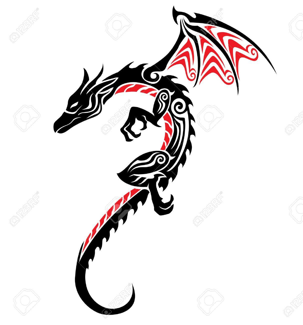8e3facdf4b8ef Dragon Tribal Tattoo Royalty Free Cliparts, Vectors, And Stock ...