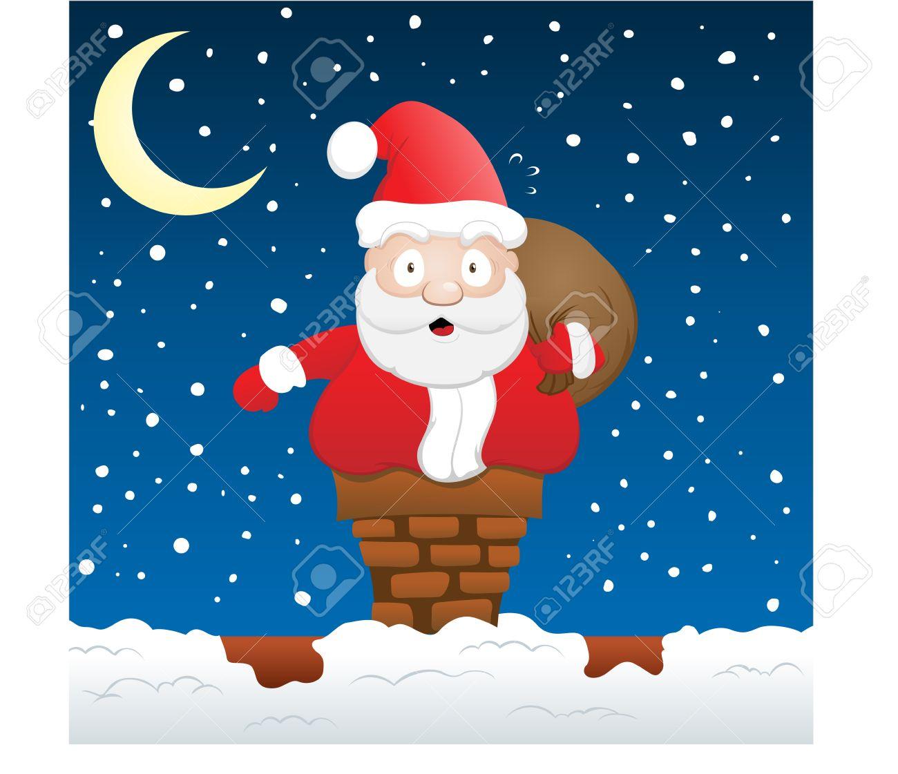 Santa Stuck on Chimney Stock Vector - 7915440