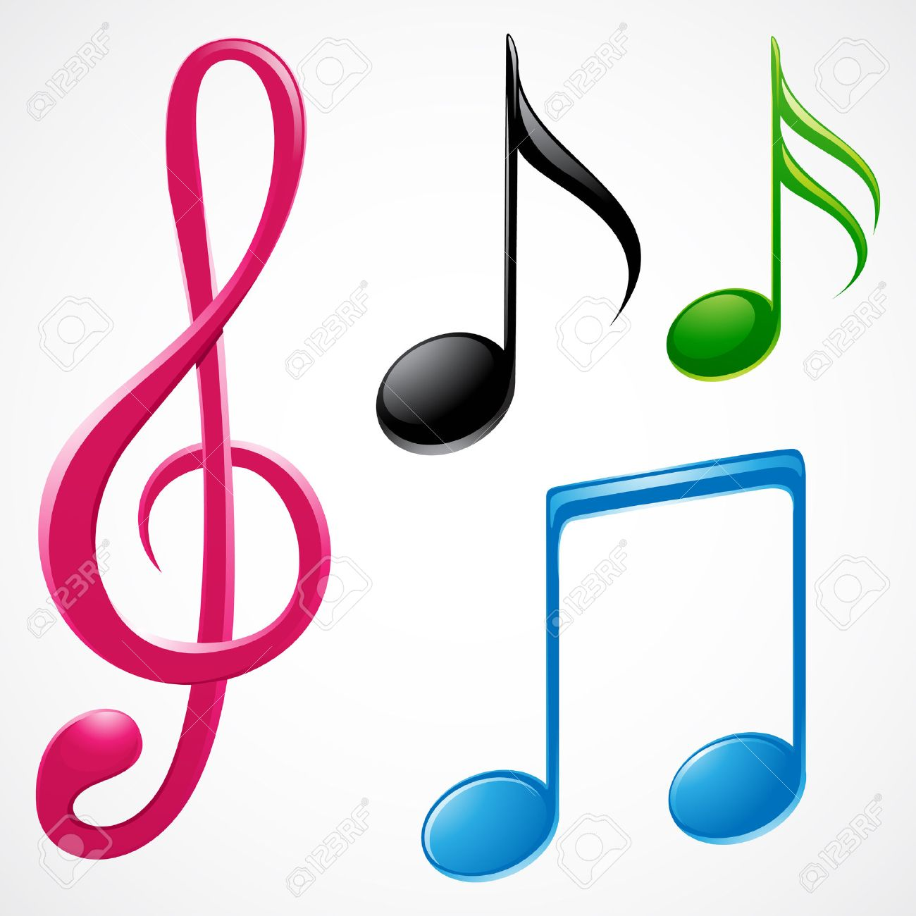 vector illustration of colorful music notes royalty free cliparts