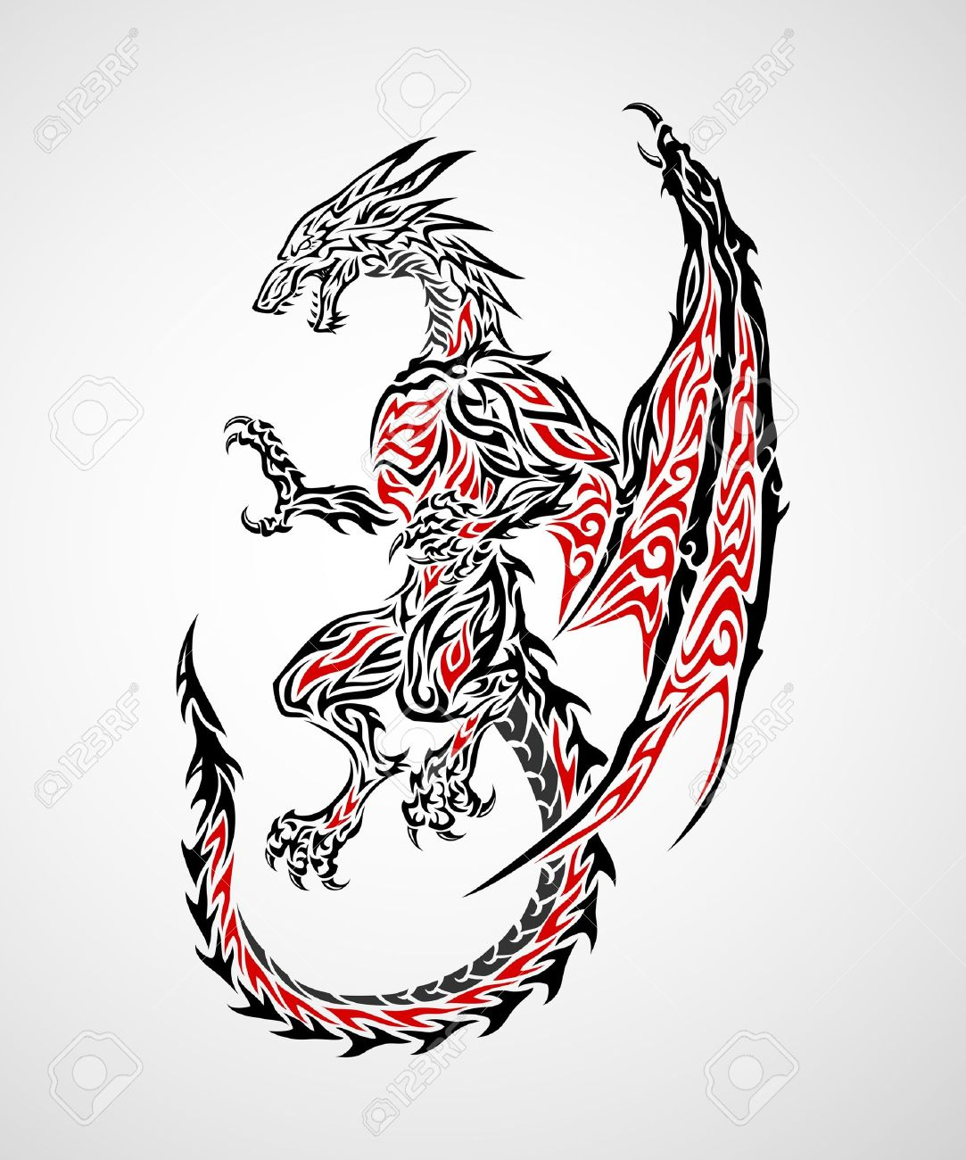 Dessin Tribal Dragon dragon tribal tattoo royalty free cliparts, vectors, and stock