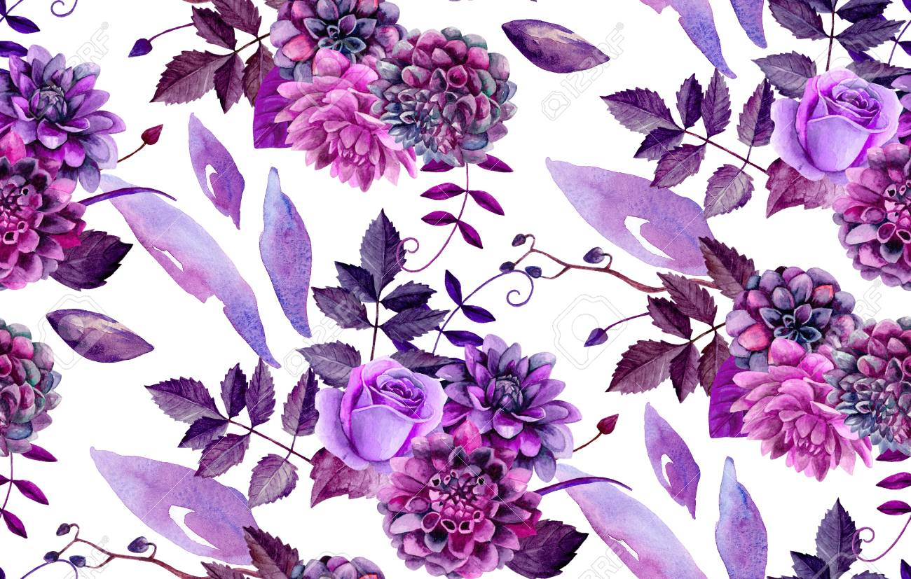 Watercolor Floral Pattern Purple Flowers Background Stock Photo