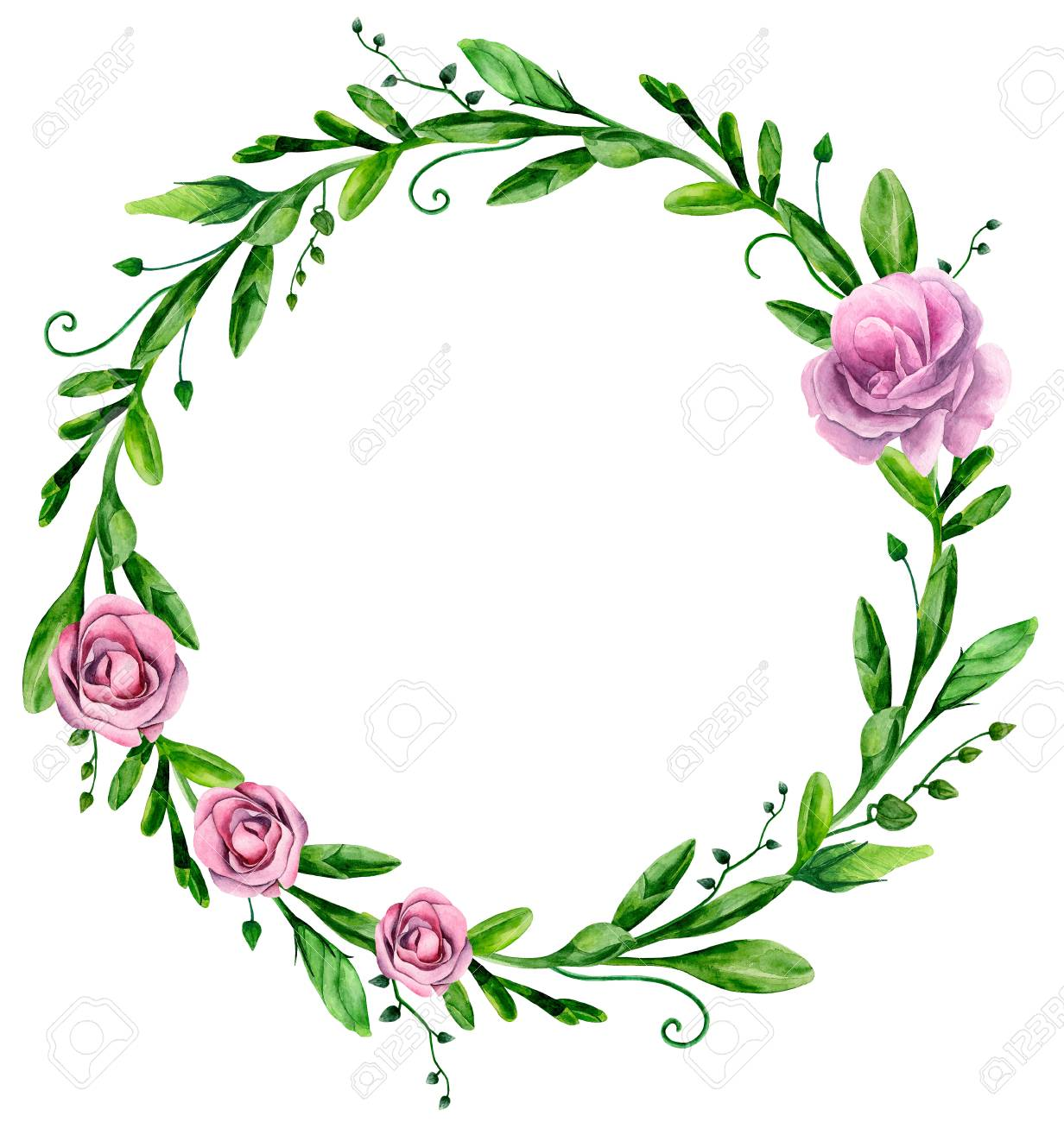 Watercolor Greenery Floral Arrangement Clip Art Stock Photo