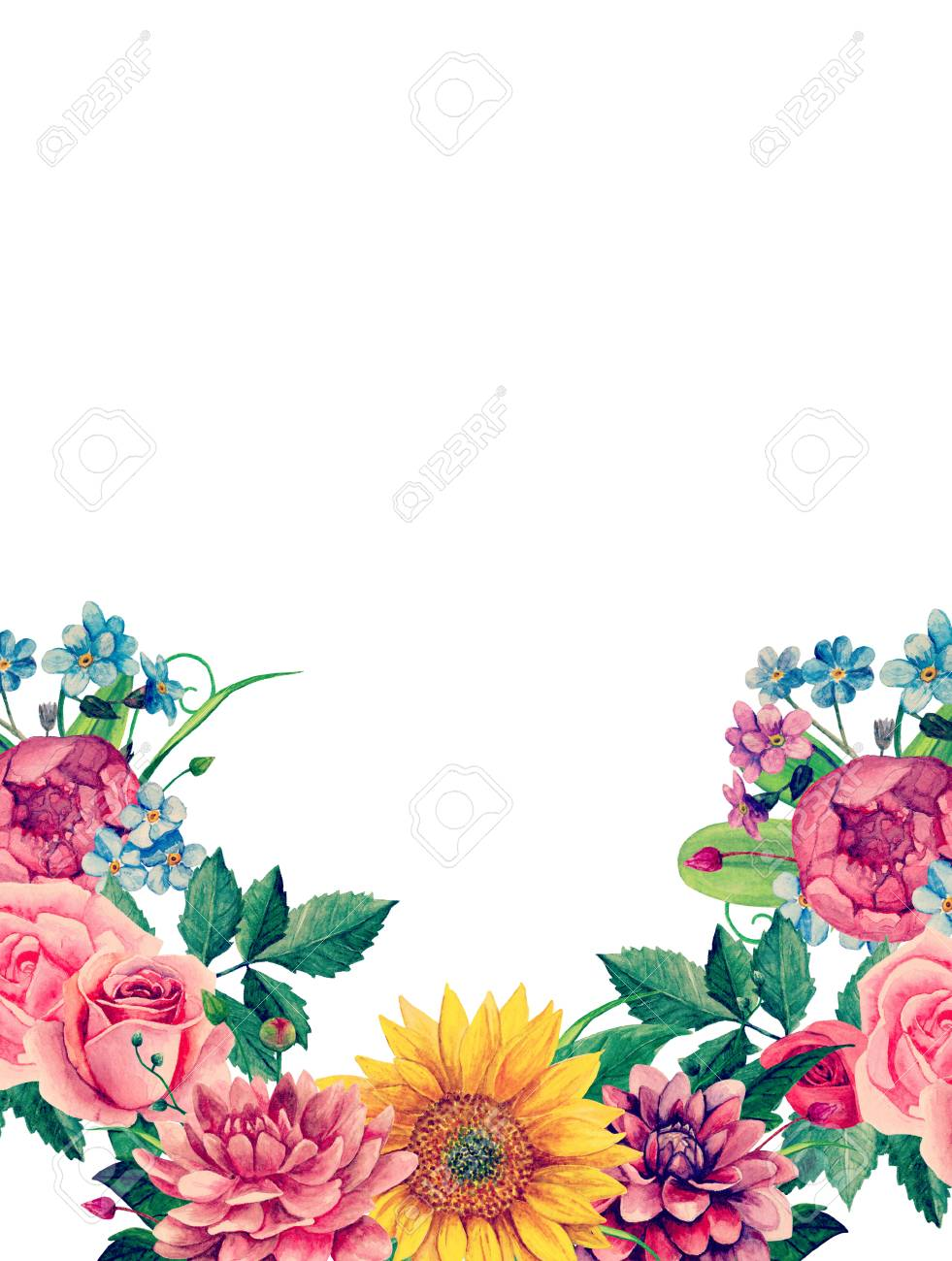 Watercolor Boho Flowers Pink Floral Bouquet Greeting Card Design Stock Photo Picture And Royalty Free Image Image 96454353