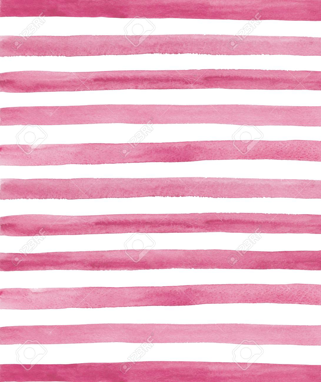 Watercolor Pink And White Stripes Background Hand Painted Lines