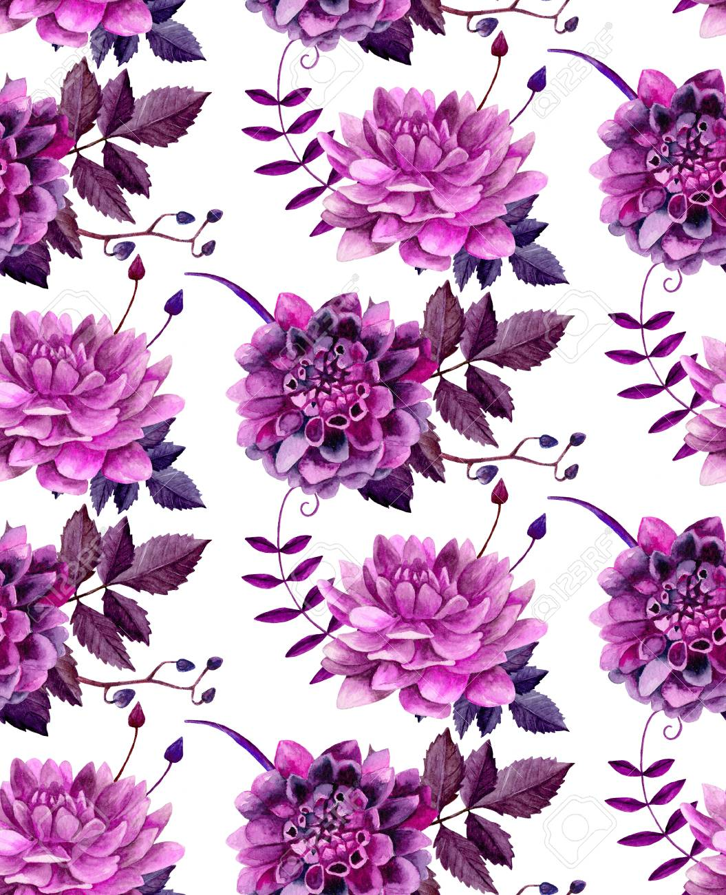 Watercolor Purple Dahlias Flowers Pattern Floral Background Stock