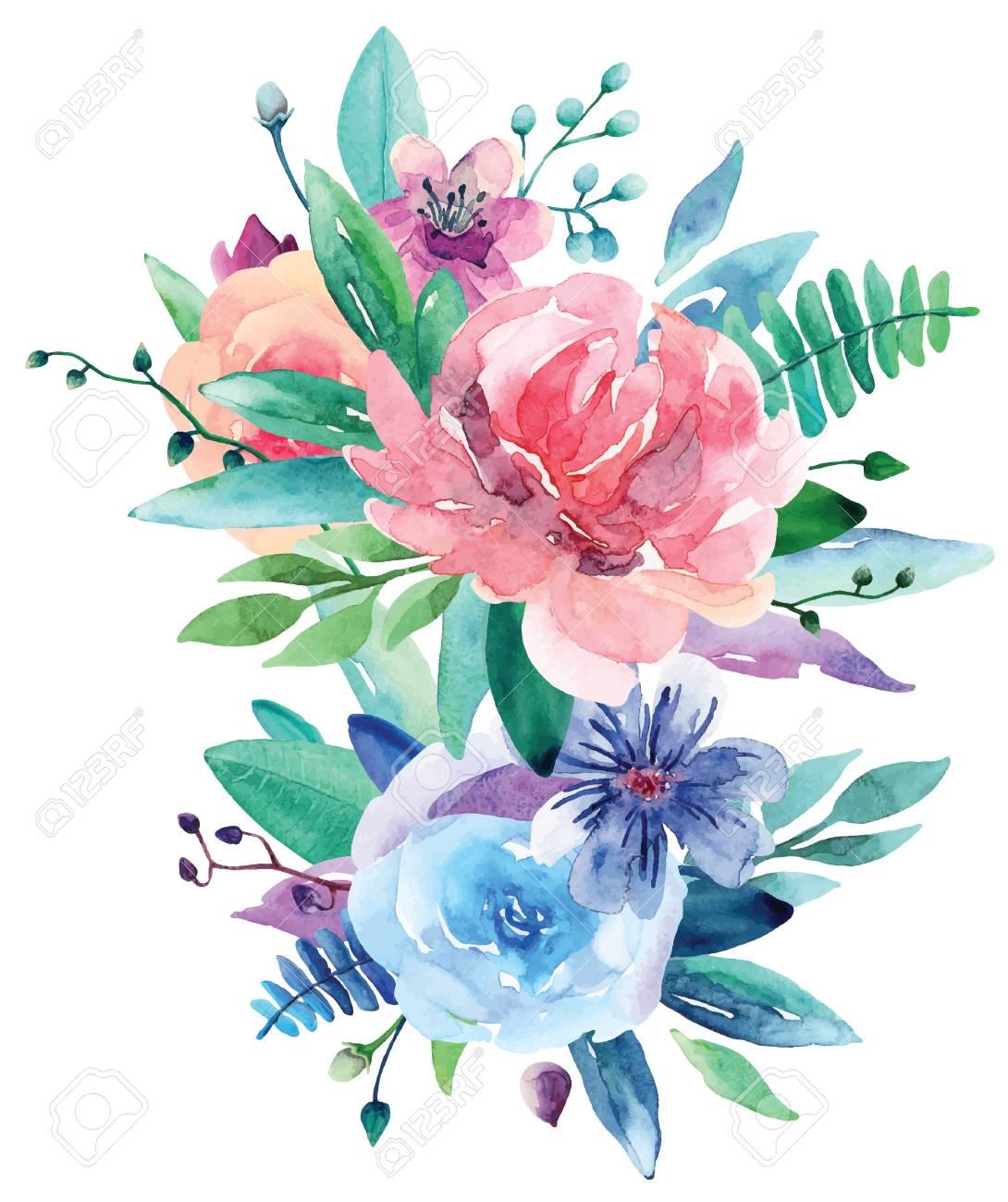Watercolor floral bouquet vector clip art pink and blue flowers vector watercolor floral bouquet vector clip art pink and blue flowers illustration mightylinksfo