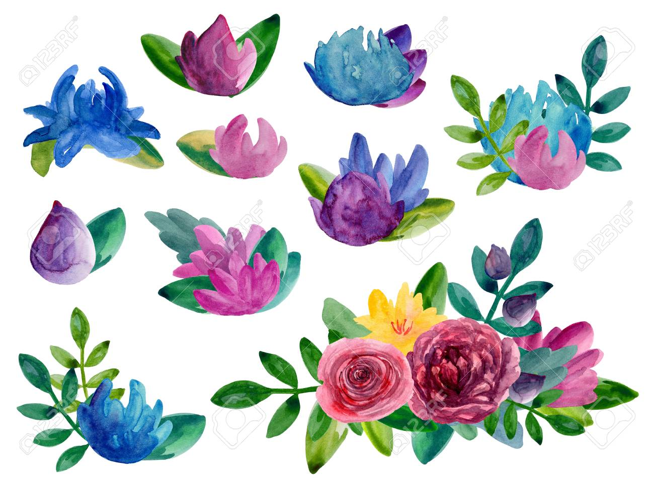 Watercolor abstract flowers bouquets clipart floral arrangement stock photo watercolor abstract flowers bouquets clipart floral arrangement isolated izmirmasajfo