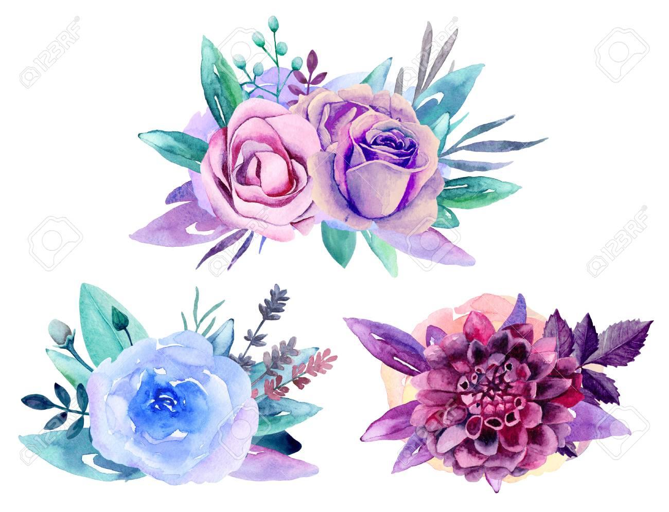 Purple Floral Bouquet Clip Art. Blue Watercolor Flowers Arrangement ...