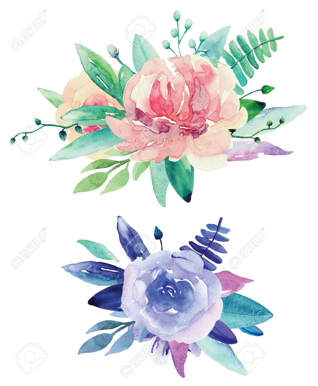 Watercolor floral bouquets clip art pink and purple flowers stock stock photo watercolor floral bouquets clip art pink and purple flowers clipart izmirmasajfo