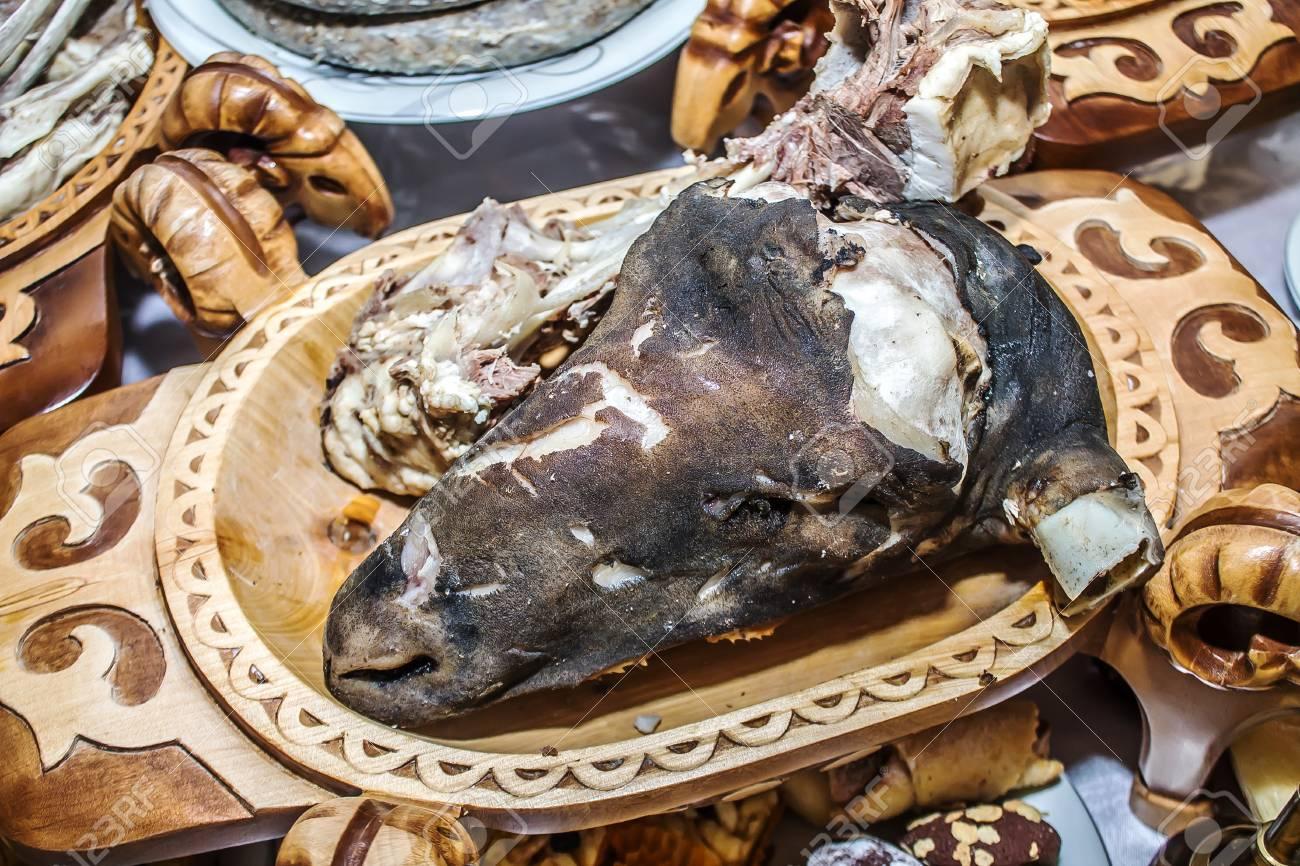 Kazakh national food-boiled lamb head