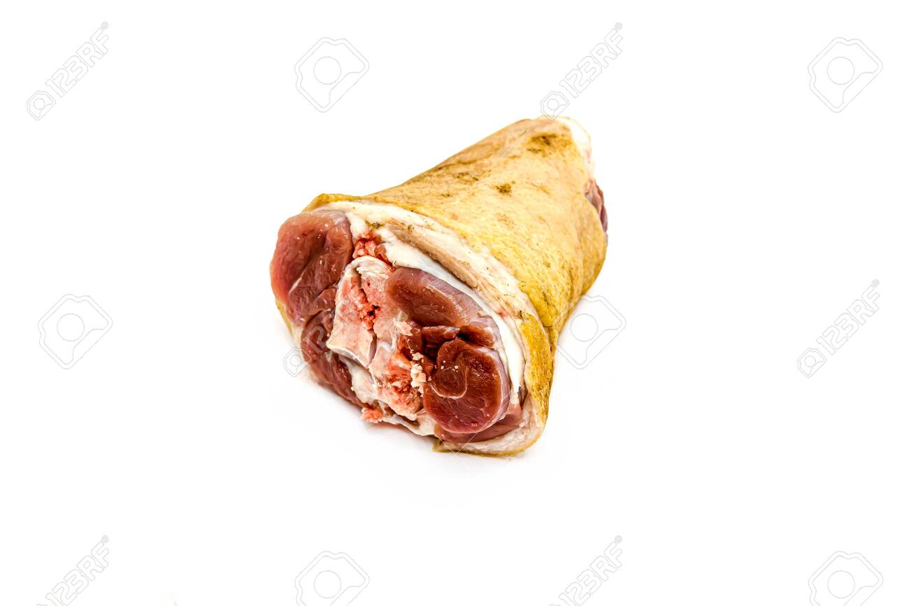 Raw pork shank on a white background - 155768821