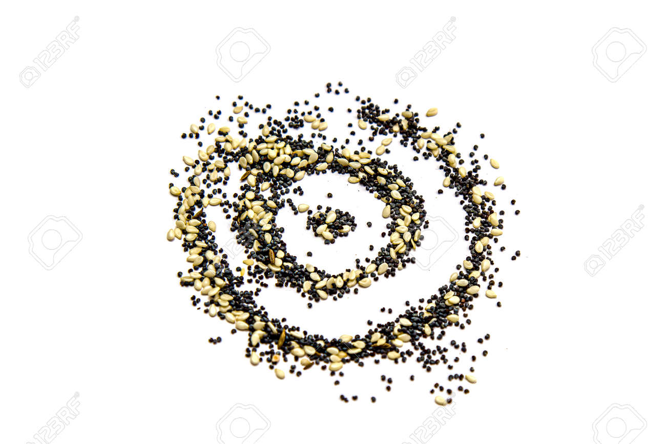 Sesame seeds and culinary poppy on a white background. - 155722455