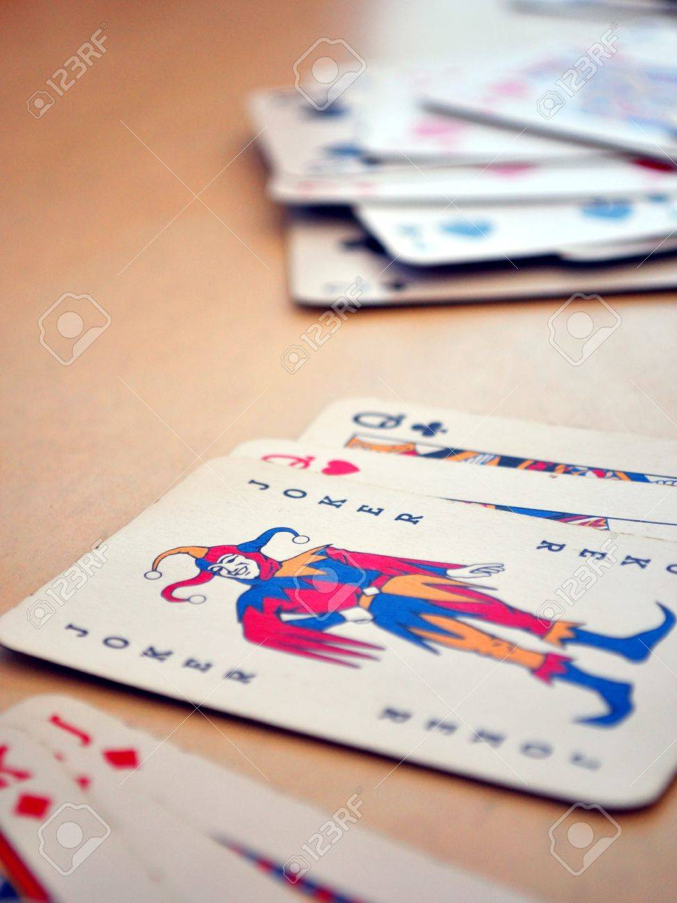 Detail view of poker cards, focused on Joker Stock Photo - 17714010