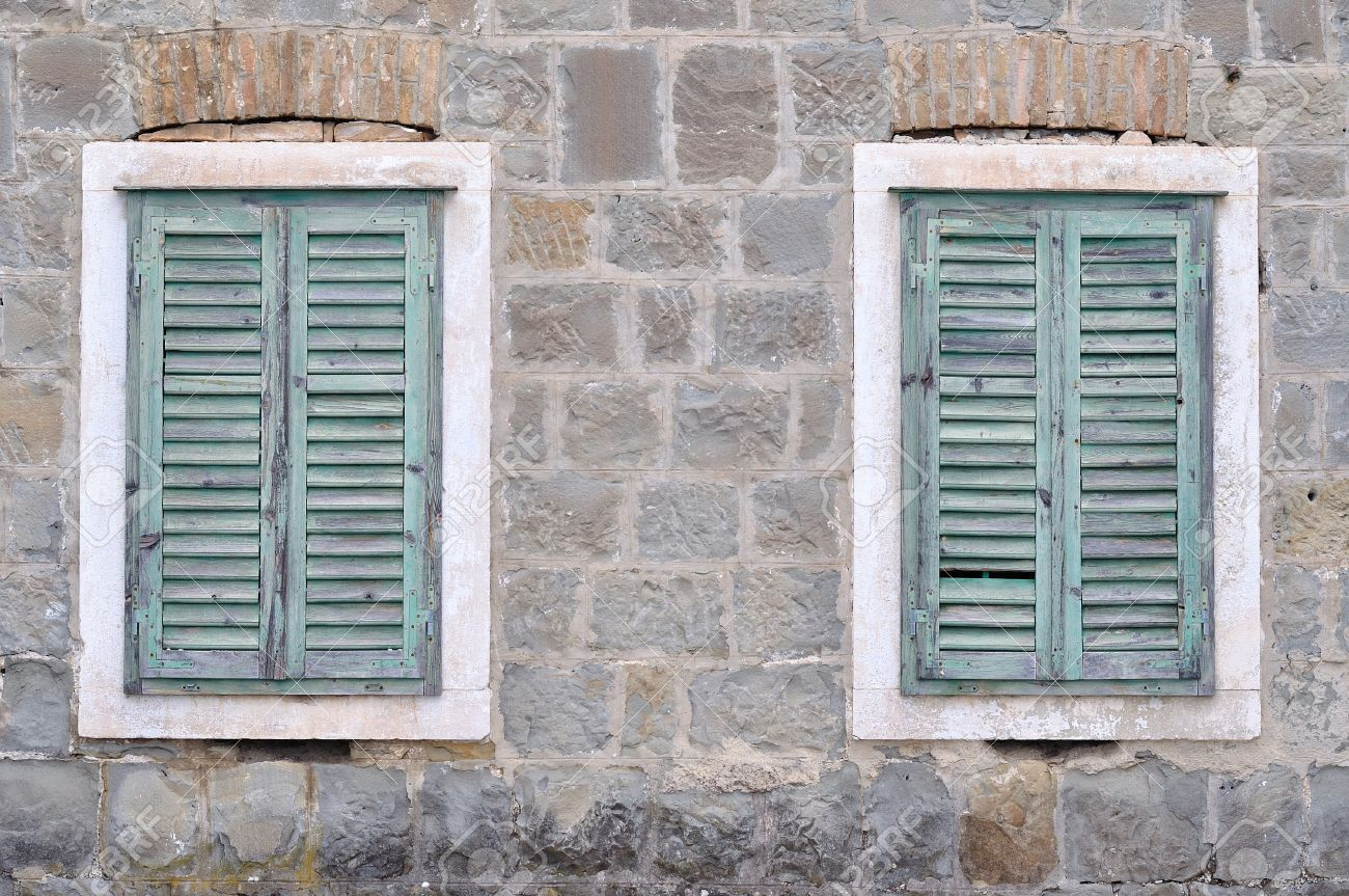 Old Windows Part - 32: Stock Photo - Two Old Windows With Blue Closed Shutters On An Old House  Vintage Background, Texture