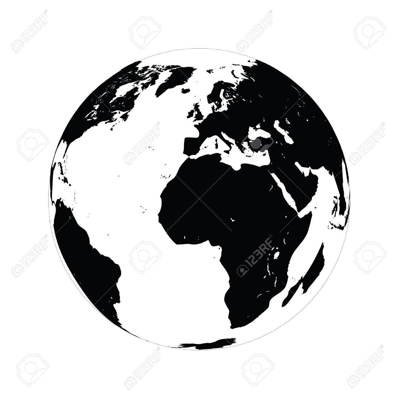 Wonderful Simple Black Globe Vector Illustration On White Background. Stock Vector    86617503