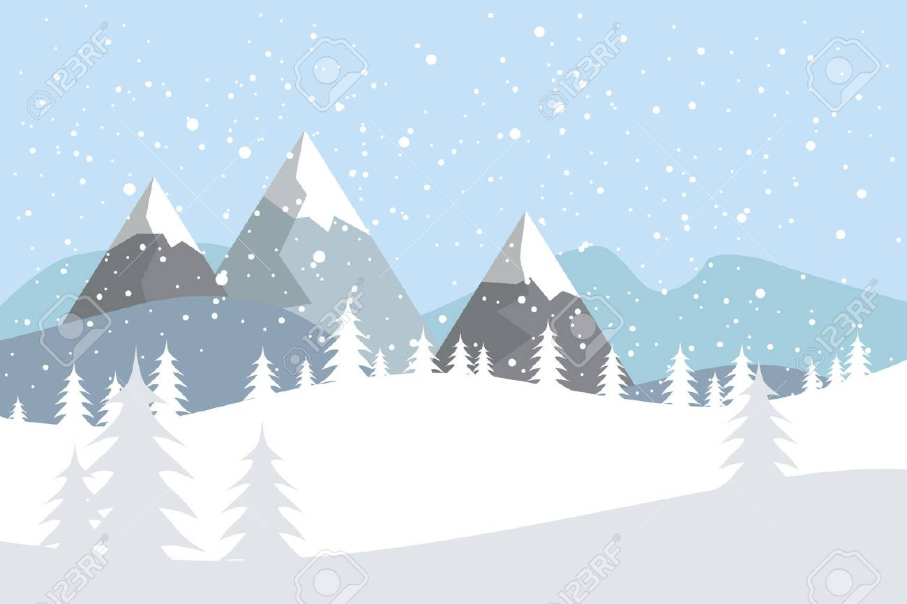 Flat vector landscape with silhouettes of trees, hills and mountains with falling snow. - 90754001