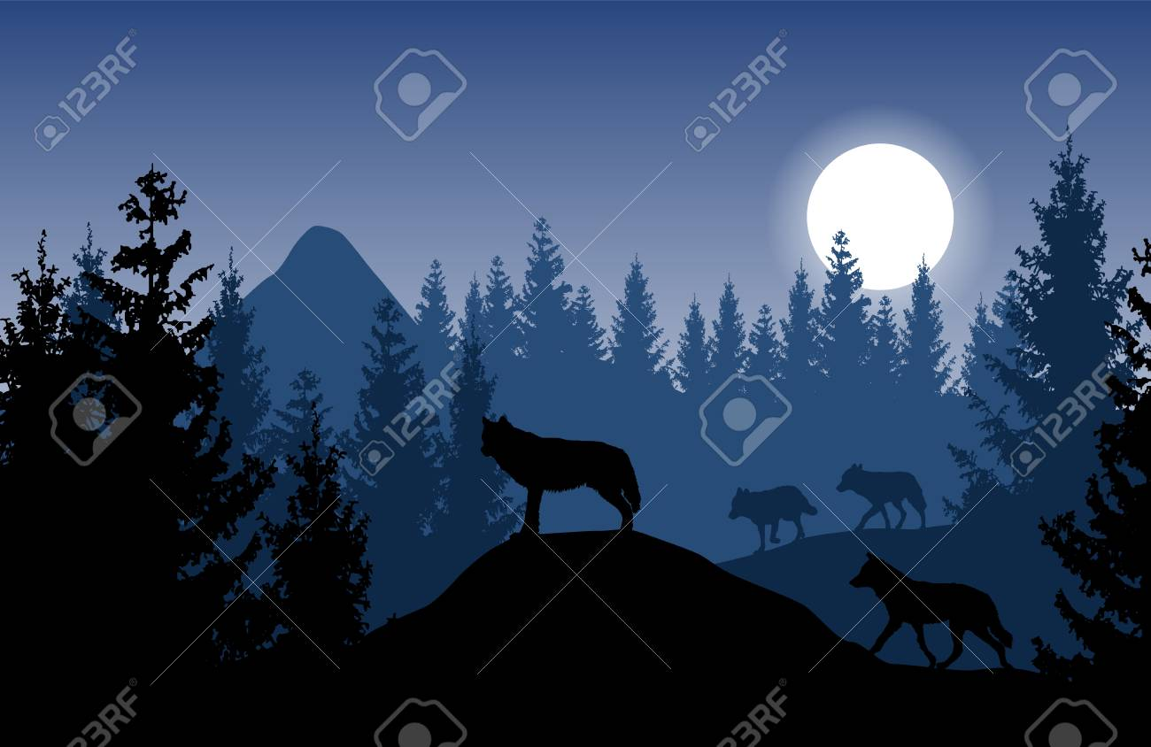 Blue vector landscape with a pack of wolves in dense forest with glowing moon. - 102418109