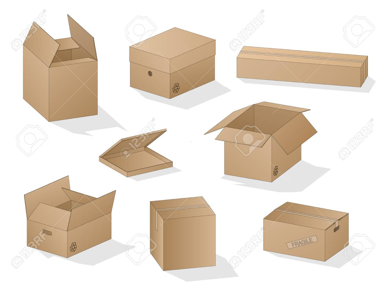 Vector collection of beautiful shaded realistic brown carton paper boxes with outlines on white background. - 126499219